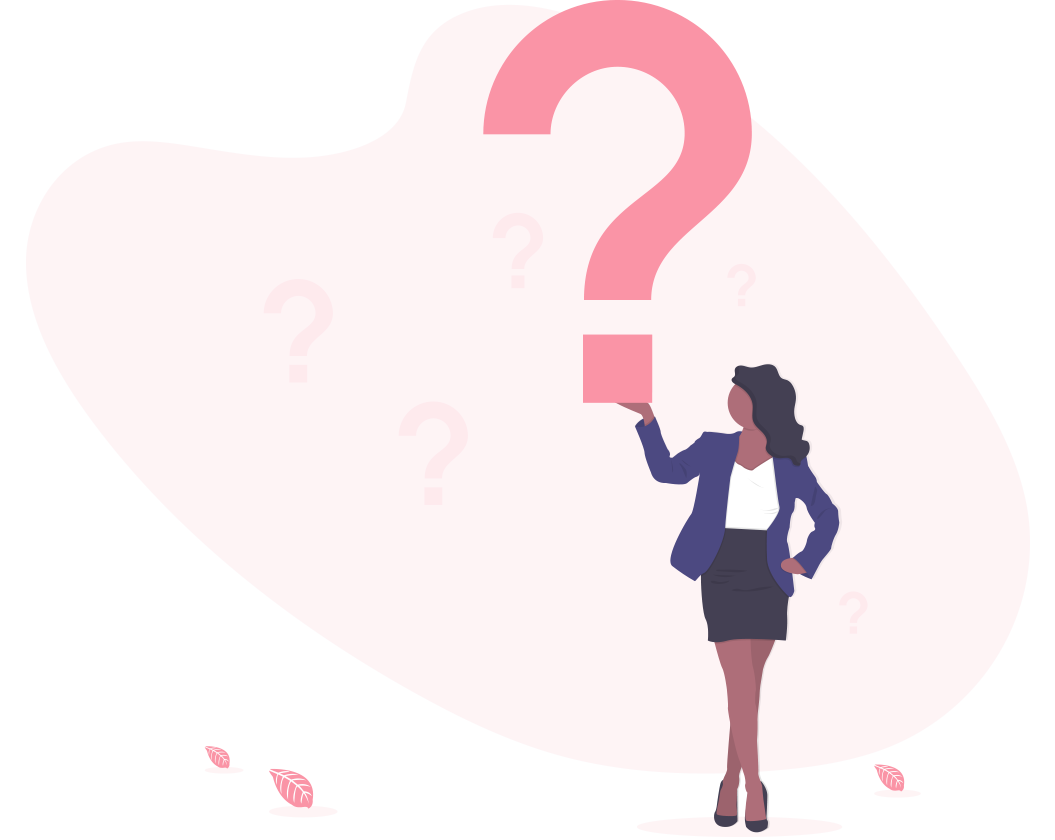 Illustration of a woman holding a big question mark