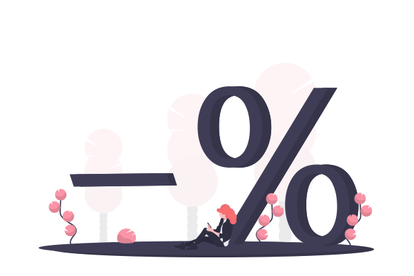 Illustration of a woman using phone sitting next to a percentage icon
