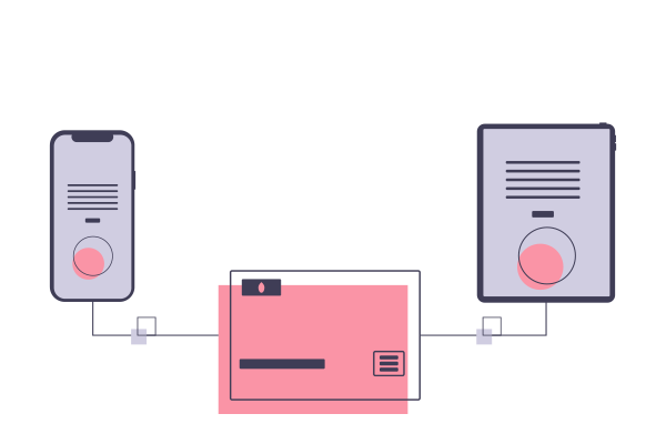 Illustration of different screen devices connected