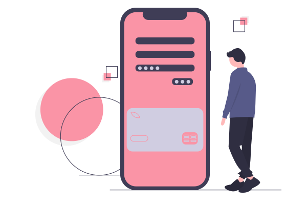 Illustration of a man looking at phone screen showing an app